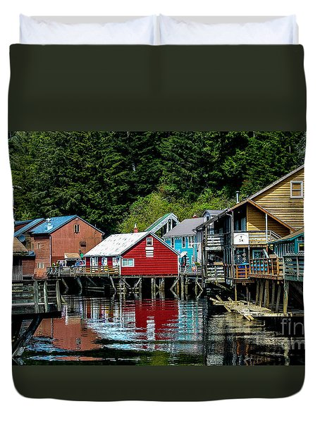 Creek Street - Ketchikan Alaska Duvet Cover by Debra Martz