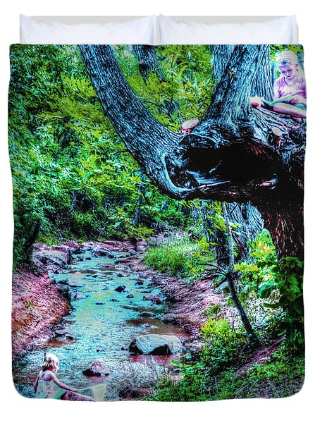 Duvet Cover featuring the photograph Creek Time Enchantment by Lanita Williams