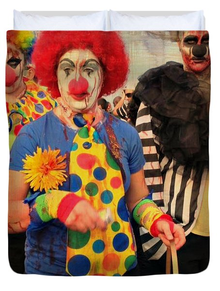 Creepy Clowns Duvet Cover by Lilliana Mendez