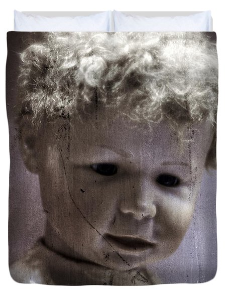 Creepy Old Doll Duvet Cover by Edward Fielding