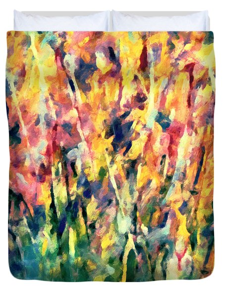 Crescendo Of Spring Abstract Duvet Cover