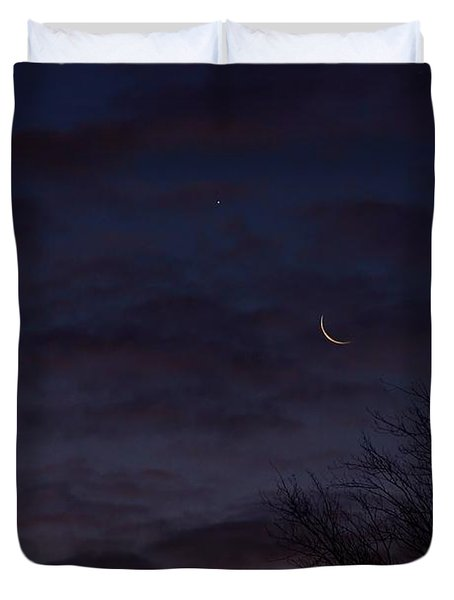 Crescent Moon And Venus Rising Duvet Cover