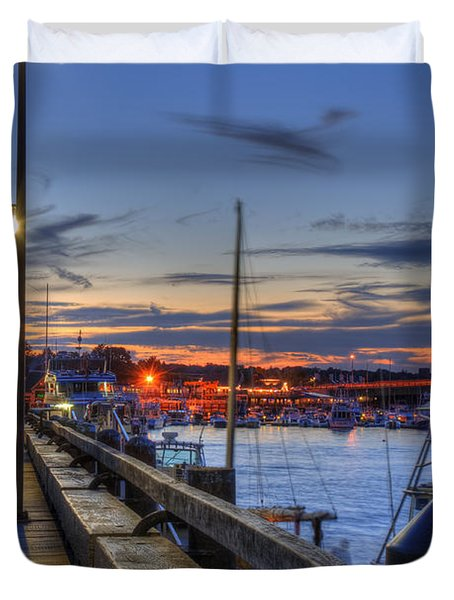 Crescent Moon Over Newburyport Harbor Duvet Cover