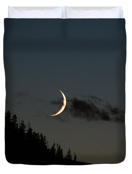 Duvet Cover featuring the photograph Crescent Silhouette by Jeremy Rhoades