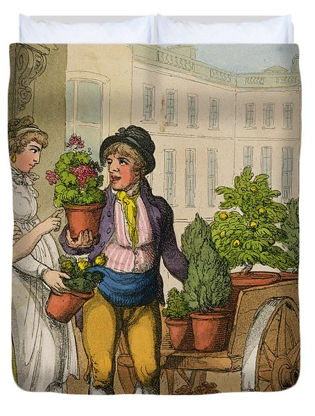 Cries Of London The Garden Pot Seller Duvet Cover by Thomas Rowlandson