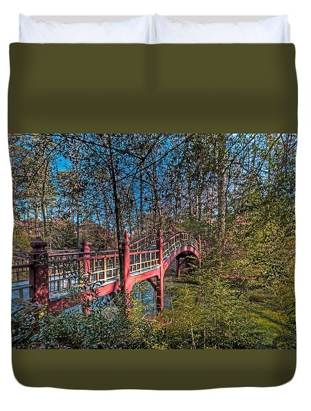 Duvet Cover featuring the photograph Crim Dell Bridge by Jerry Gammon