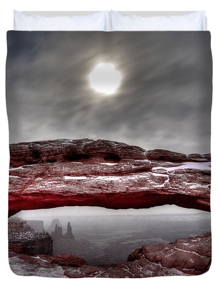 Duvet Cover featuring the photograph Crimson Arch by David Andersen