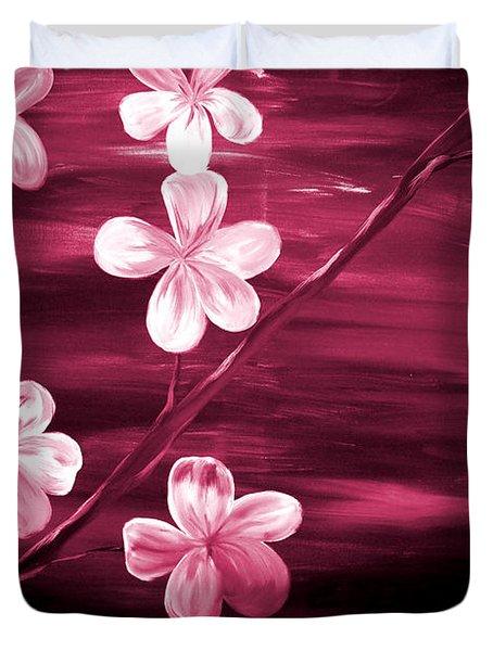 Crimson Cherry Blossom Duvet Cover by Mark Moore