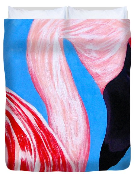 Crimson Flamingo Duvet Cover by Anita Lewis