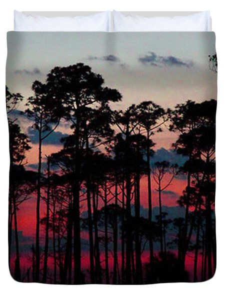 Crimson In The Pines Duvet Cover