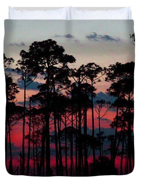 Crimson In The Pines Duvet Cover