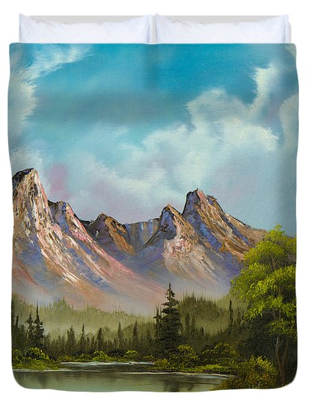 Crimson Mountains Duvet Cover by C Steele