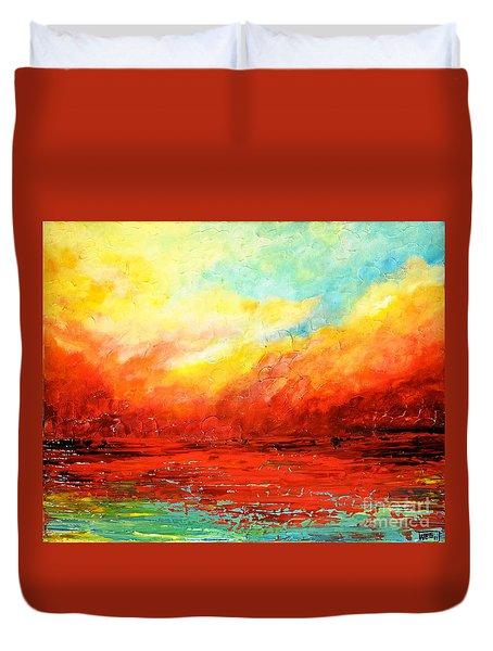 Crimson No.2 Duvet Cover by Teresa Wegrzyn