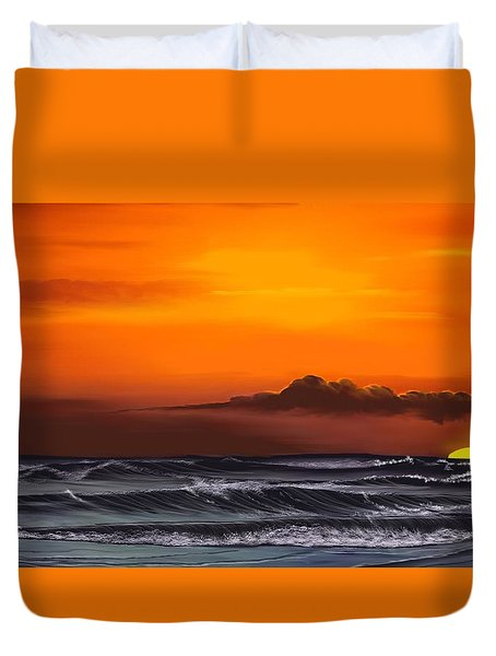 Duvet Cover featuring the drawing Crimson Sunset by Anthony Fishburne