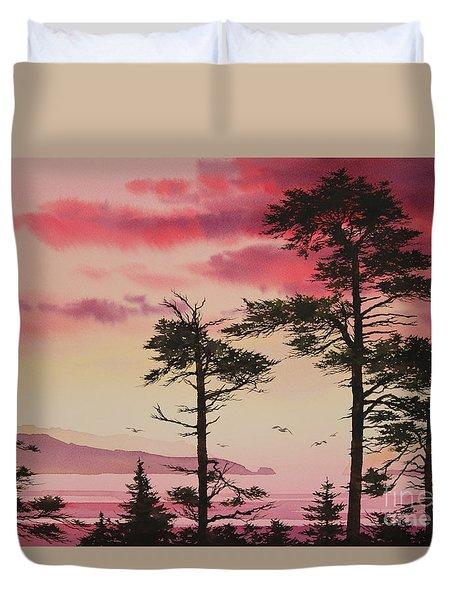 Crimson Sunset Splendor Duvet Cover by James Williamson