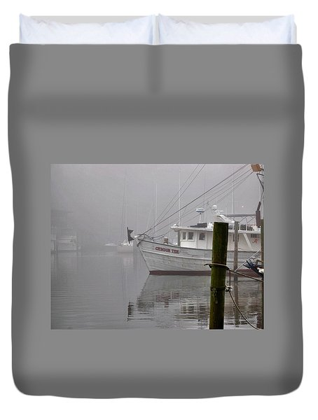 Crimson Tide In The Mist Duvet Cover by Michael Thomas