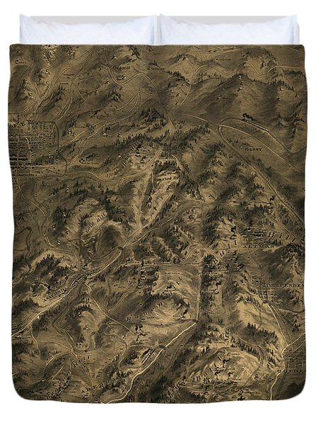 Antique Map - Cripple Creek Mining District Birdseye Map - 1895 Duvet Cover by Eric Glaser