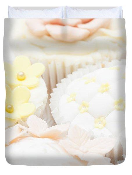 Criss-cross Cupcake Duvet Cover by Anne Gilbert
