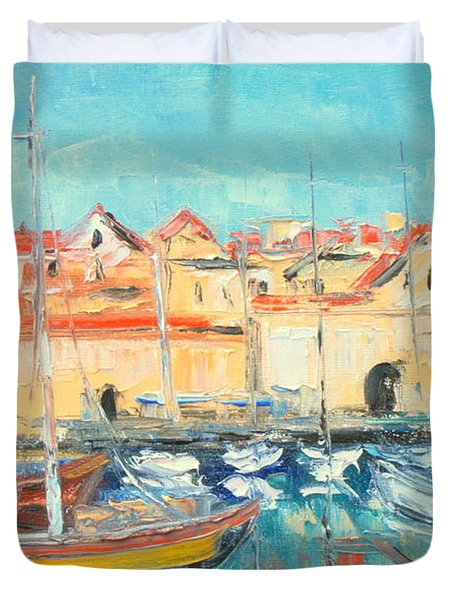 Croatia - Dubrovnik Harbour Duvet Cover
