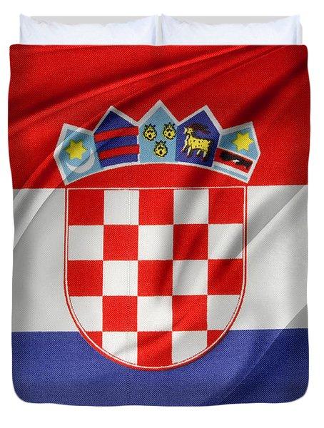 Croatian Flag Duvet Cover by Les Cunliffe
