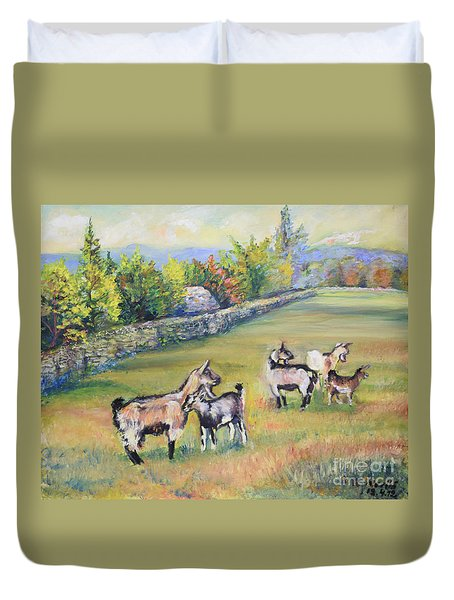 Croatian Goats Duvet Cover