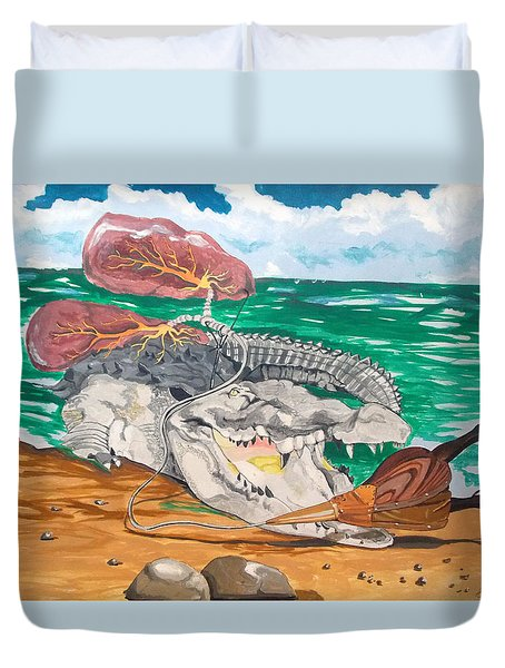 Duvet Cover featuring the painting Crocodile Emphysema by Lazaro Hurtado