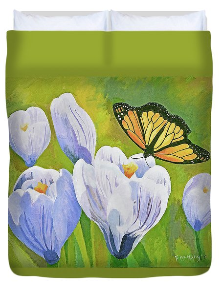 Crocus And Monarch Butterfly Duvet Cover
