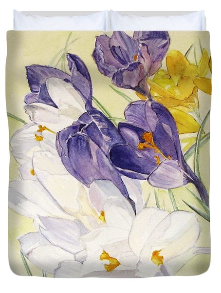 Duvet Cover featuring the painting Crocus by Carol Flagg