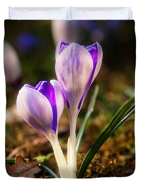 Duvet Cover featuring the photograph Crocus by Christine Sponchia