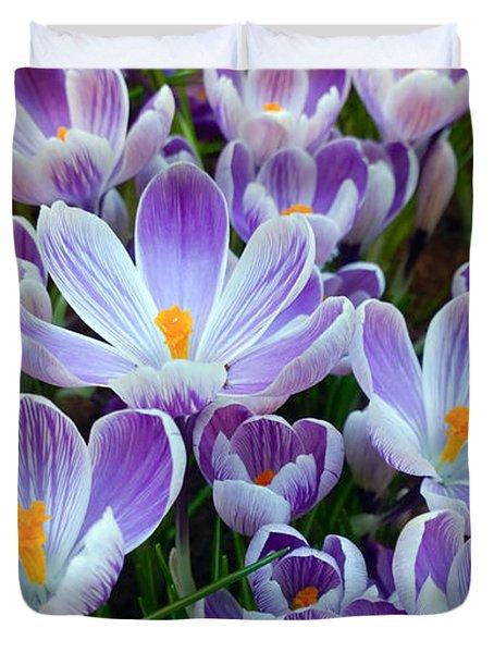Crocus Flowers Duvet Cover