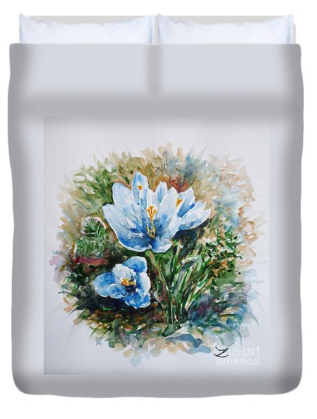 Crocuses Duvet Cover by Zaira Dzhaubaeva