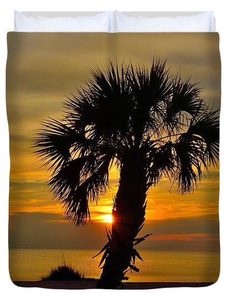 Duvet Cover featuring the photograph Crooked Palm Sunset by Richard Zentner