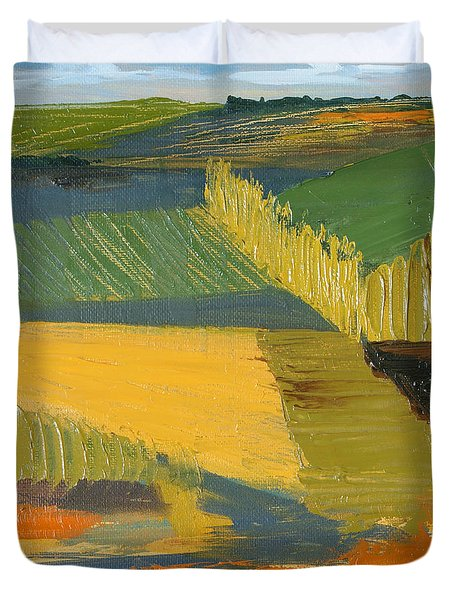Duvet Cover featuring the painting Crop Fields by Erin Fickert-Rowland