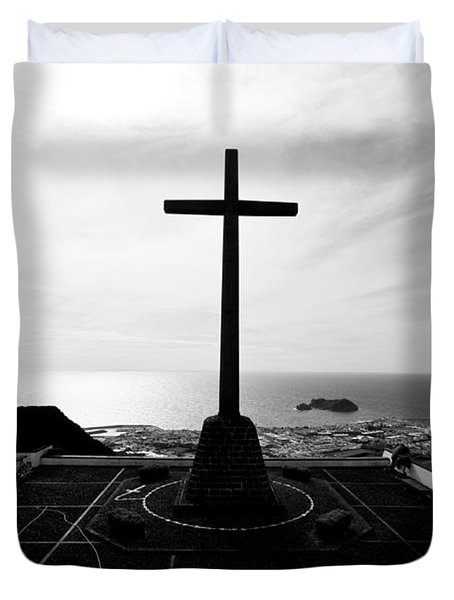 Cross Atop Old Chapel In Village  Duvet Cover