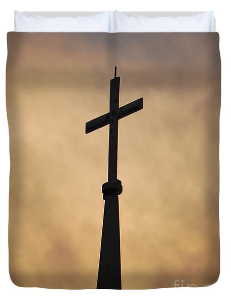 Duvet Cover featuring the photograph Silhouette Of The Cross by Bob Sample