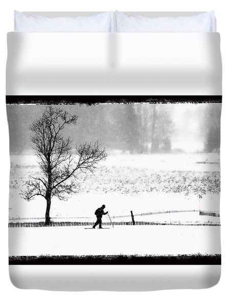 Cross Country Skiier Canaan Valley Duvet Cover by Dan Friend