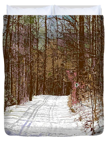 Duvet Cover featuring the photograph Cross Country Trail by Nina Silver