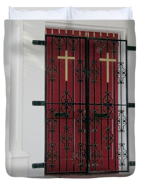 Key West Church Doors Duvet Cover