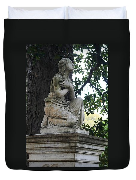 Duvet Cover featuring the photograph I Cross My Heart Angel by Lesa Fine