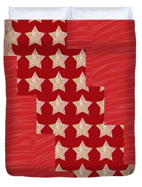 Cross Through Sparkle Stars On Red Silken Base Duvet Cover by Navin Joshi