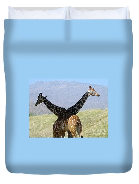 Crossed Giraffes Duvet Cover