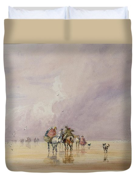 Crossing Lancaster Sands Duvet Cover by David Cox