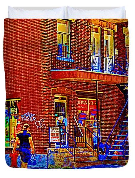 Crossing Laurier Depanneur Maboule Tabagie Biere Et Vin Montreal Street Scene Art By Carole Spandau Duvet Cover by Carole Spandau