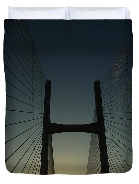 Duvet Cover featuring the photograph Crossing The Severn Bridge At Sunset - Cardiff - Wales by Vicki Spindler