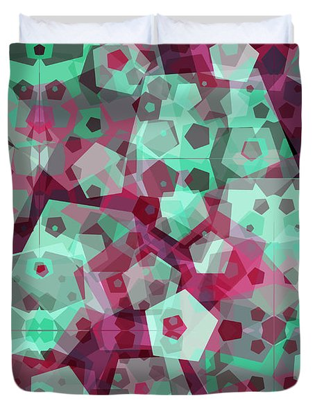 Duvet Cover featuring the digital art Crowd Of Pentagons by Shawna Rowe