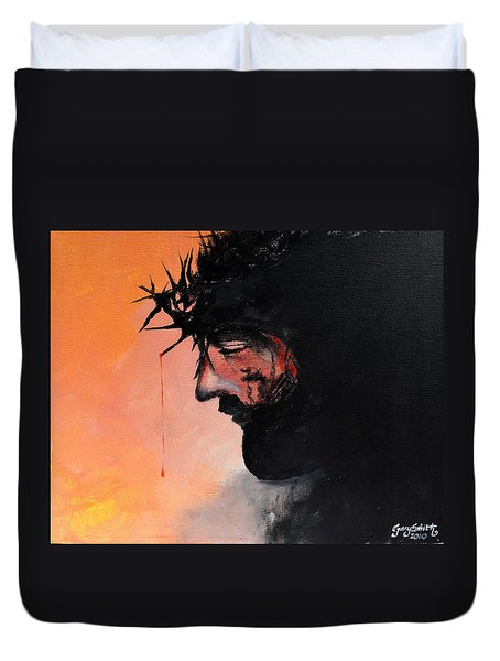 Duvet Cover featuring the painting Blood Of The Redeemer by Gary Smith