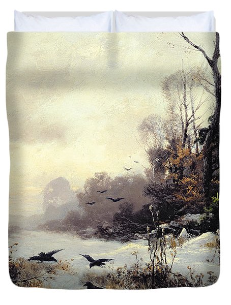 Crows In A Winter Landscape Duvet Cover by Karl Kustner