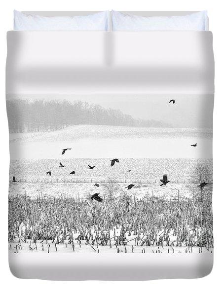Crows In Cornfield Winter Duvet Cover by Dan Friend