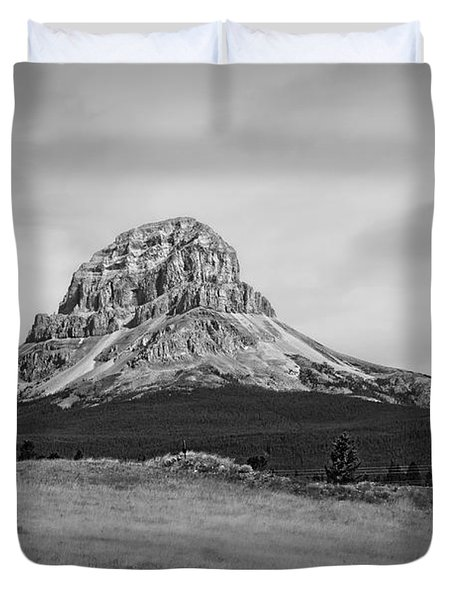 Crowsnest Mountain Black And White Duvet Cover