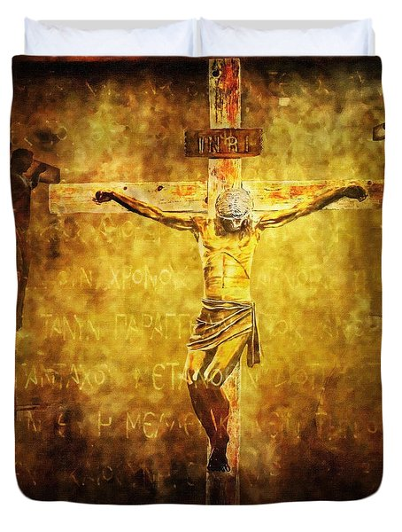 Crucified Via Dolorosa 12 Duvet Cover by Lianne Schneider